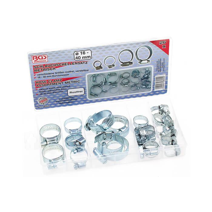 10 x Mini Schlauchklemmen-Sortiment Rundziehende Schlauchschellen Satz 7-24 mm