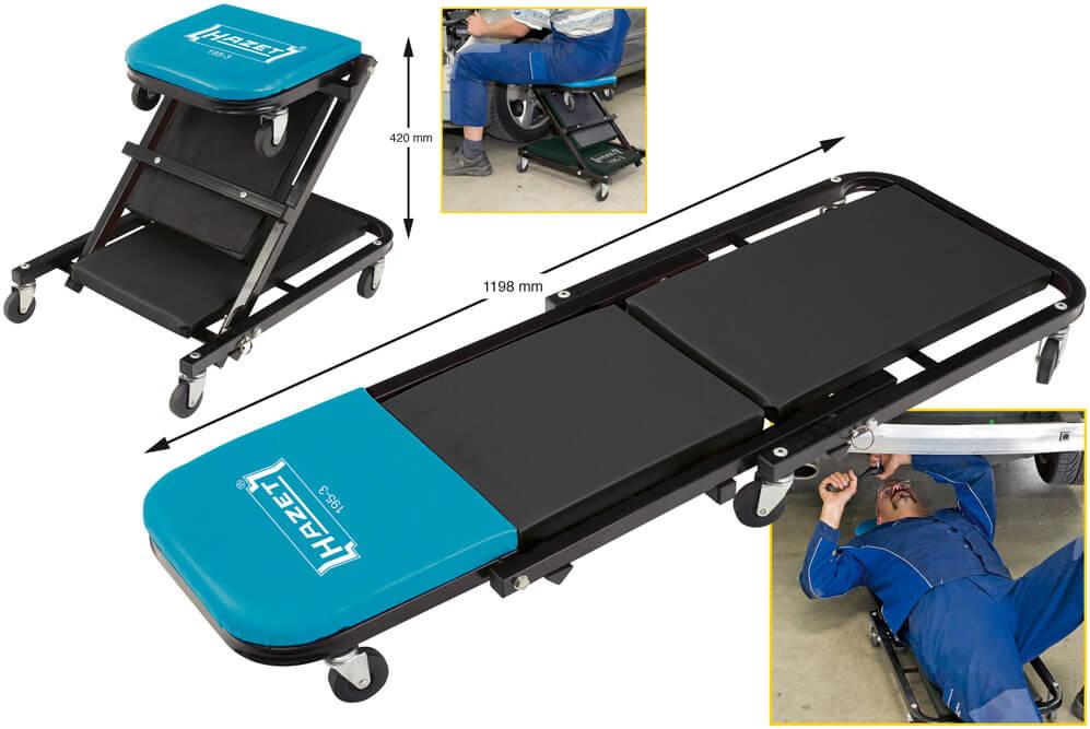 hazet rollliege 195 3 rollsitz rollhocker kfz werkstatt rollbrett auto werkzeug ebay. Black Bedroom Furniture Sets. Home Design Ideas