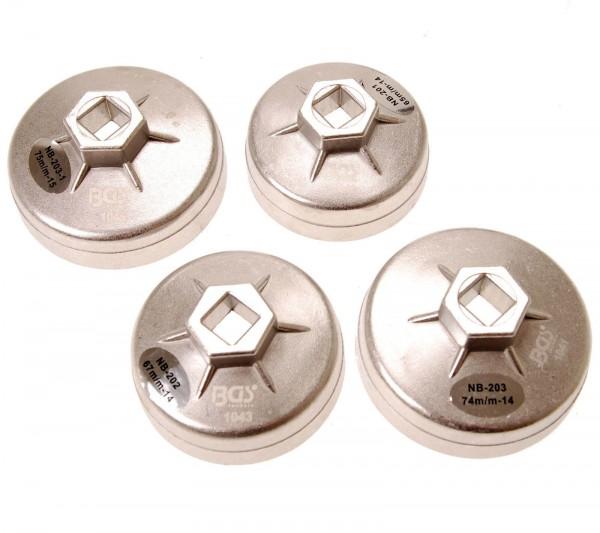BGS 8384 Aluminium-Ölfilterkappen-Satz, 4-tlg.