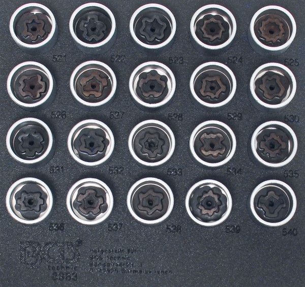BGS 8963 Felgenschloss-Werkzeug-Satz für VW, 20-tlg.