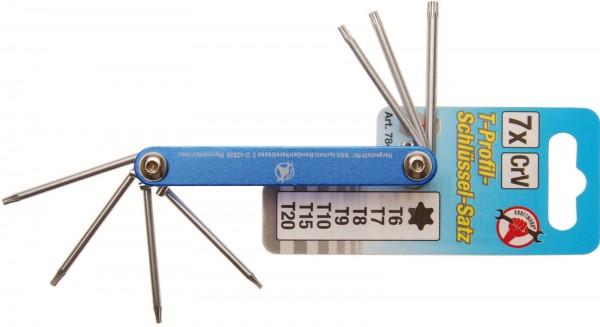 BGS 7848 T-Profil-Klappschlüssel-Set, T6 - T20, 7-tlg.