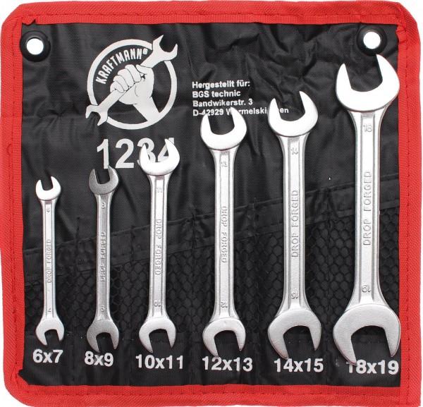 BGS 1234 Doppelmaulschlüssel-Satz, 6x7-17x19 mm, 6-tlg.