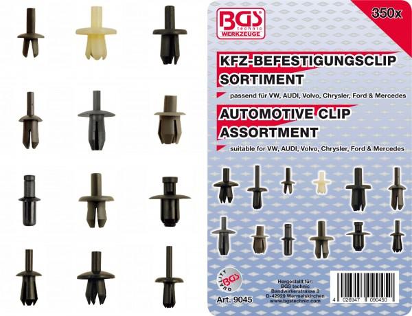 BGS 9045 KFZ-Befestigungsclip-Sortiment für VW, Audi, Volvo, Chrysler, Ford & Mercedes, 350-tlg.