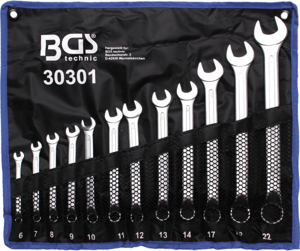 BGS 30301 Maulringschlüssel-Set, gekröpft, 6-22 mm, 12-tlg.