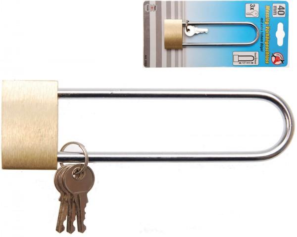 BGS 3103 Messing-Vorhängeschloss, 40 mm, extra hoher Bügel