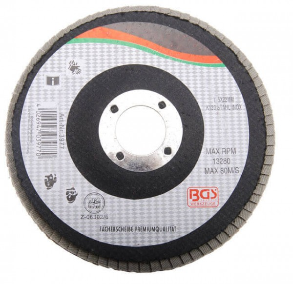 BGS 3975 Fächer-Schleifscheibe 125 mm Fächerscheibe für Winkelschleifer K60