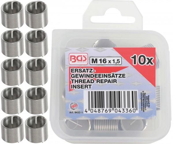 BGS 9432-1 5 Ersatz-Gewindeeinsätze, M16 x 1,5