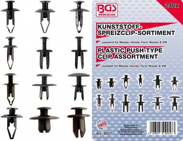 BGS 9057 Kunststoffspreizclip-Sortiment für Mazda, Honda, Ford, Nissan & VW, 240-tlg.