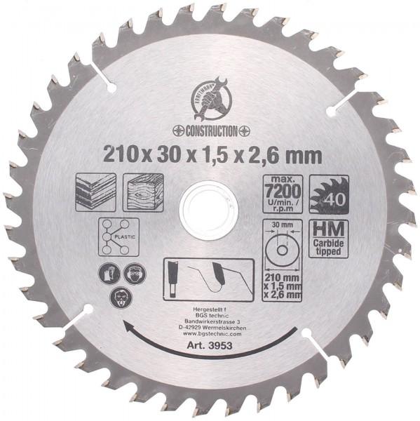 BGS 3953 Hartmetall-Kreissägeblatt, Ø 210 mm