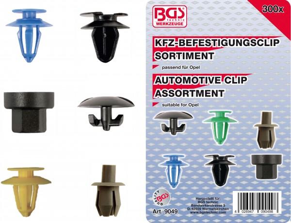 BGS 9049 KFZ-Befestigungsclip-Sortiment für Opel, 300-tlg.