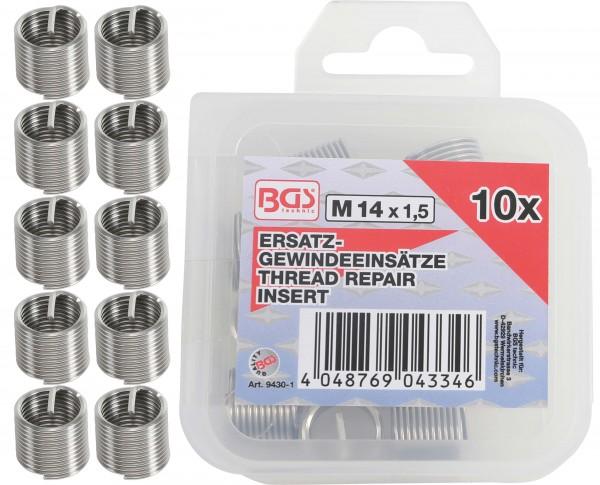 BGS 9430-1 10 Ersatz-Gewindeeinsätze, M14 x 1,5