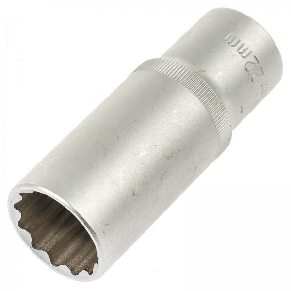 """Asta 544222 Außen Vielzahn Steckschlüssel SW 22 mm 1/2"""" 77 mm Länge"""