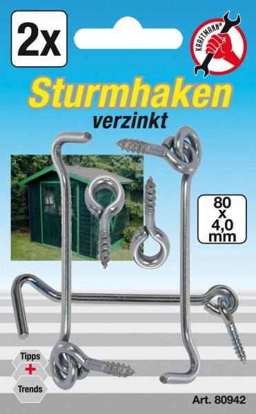 BGS 80942 Sturmhaken, 4,0 x 80 mm, 2-tlg.
