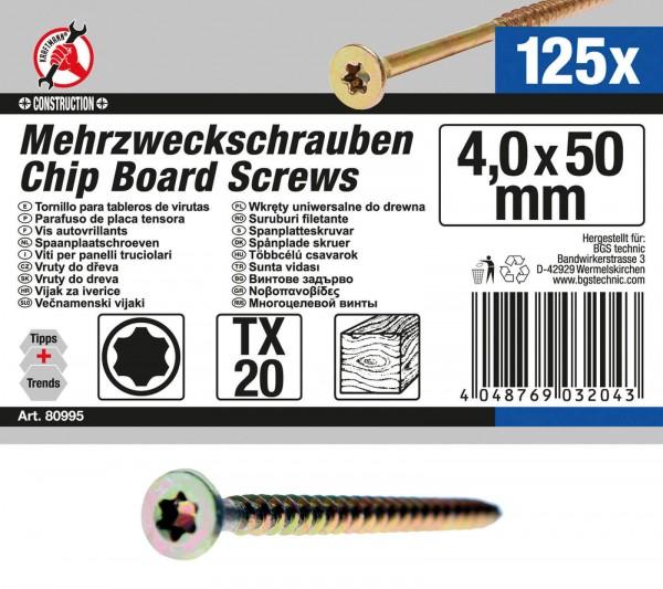 BGS 80995 Mehrzweckschrauben, 4,0x50 mm, T20, 125 Stück