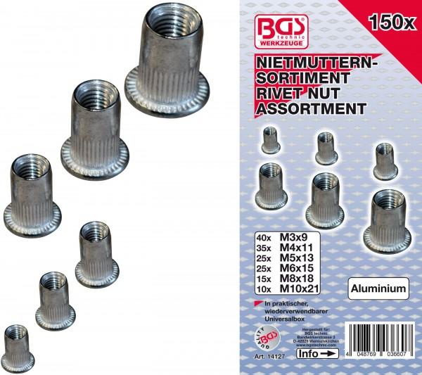 BGS 14127 Nietmuttern-Sortiment, Aluminium, 150-tlg.