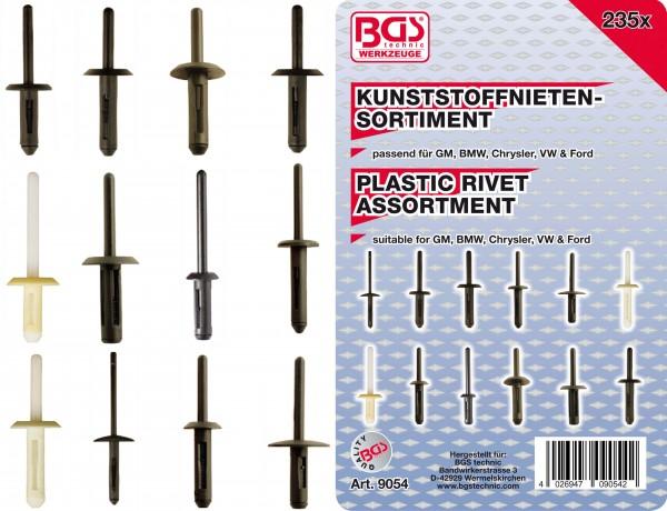 BGS 9054 Kunststoffnieten-Sortiment für GM, BMW, Chrysler, VW & Ford, 235-tlg.