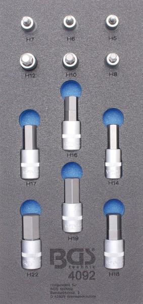 BGS 4092 1/3 Werkstattwageneinlage: Bit-Einsatz-Set Innen-6-kant, 12,5 (1/2)