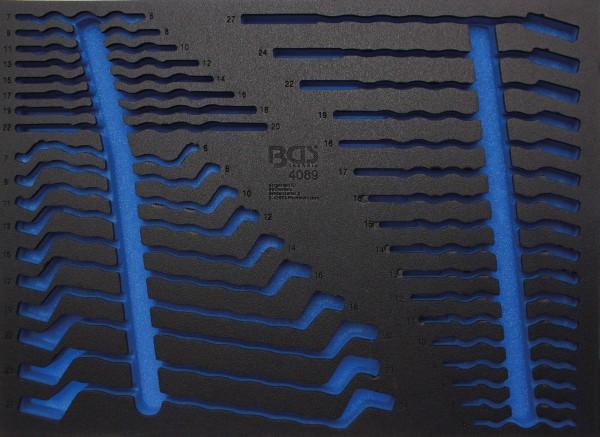 BGS 4089-1 3/3 Werkstattwageneinlage (408x567x32 mm), leer, für Maul-, Ring-, Maul-Ringschlüssel-Sat