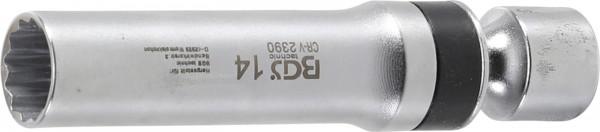 BGS 2390 Zündkerzen Gelenkeinsatz, 14 mm, 12-kant mit Haltefeder
