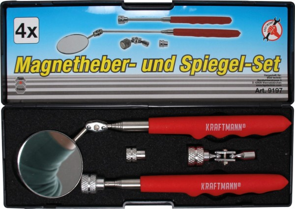 BGS 9197 Magnetheber- und Spiegel-Satz, 4-tlg.