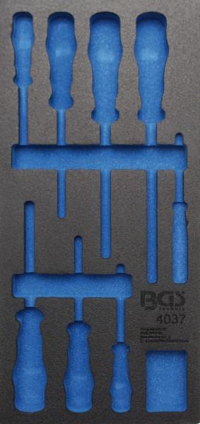 BGS 4037-1 1/3 Werkstattwageneinlage (408x189x32 mm), leer, für VDE Schraubendreher-Satz, 8-tlg.