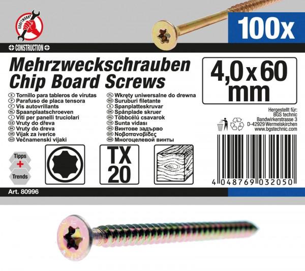 BGS 80996 Mehrzweckschrauben, 4,0x60 mm, T20, 100 Stück