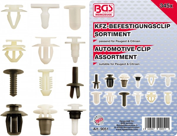 BGS 9051 KFZ-Befestigungsclip-Sortiment für Peugeot & Citroen, 345-tlg.