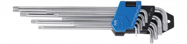 BGS 9375 T-Profil-Winkelschlüssel-Set, T10-50, 9-tlg. extra lang, kurze Seite extra kurz