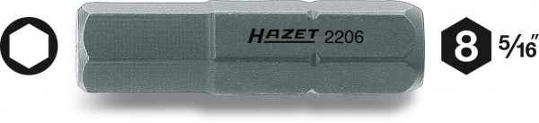 Hazet 2206-5 Schraubendreher-Einsatz Bit s 5 8 mm 5/16 Zoll Innen Sechskant