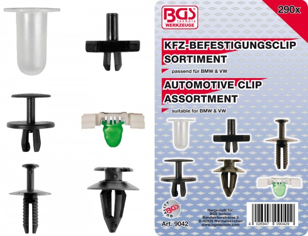 BGS 9042 KFZ-Befestigungsclip-Sortiment für BMW & VW, 290-tlg.