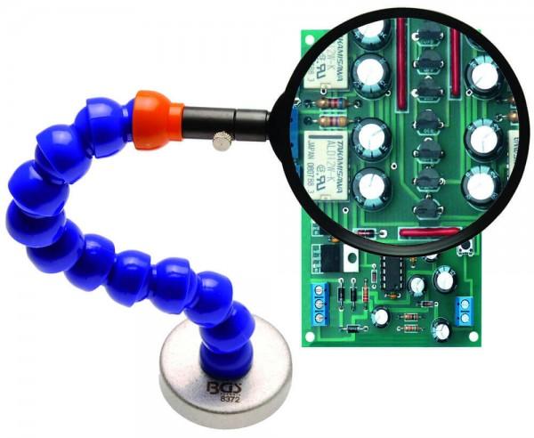 BGS 8372 Echtglas Lupe mit flexiblem Haltearm und Magnetfuß