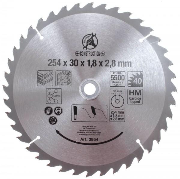 BGS 3954 Hartmetall-Kreissägeblatt, Durchmesser 254 mm, 40 Zähne