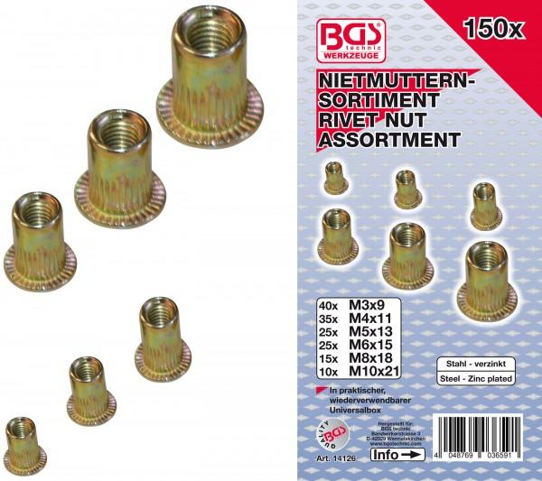 BGS 14126 Nietmuttern-Sortiment, verzinkter Stahl, 150-tlg.
