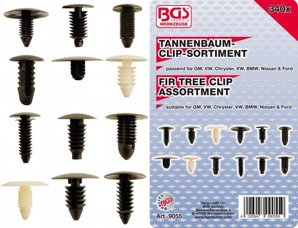 BGS 9055 Tannenbaumclip-Sortiment für GM, VW, Chrysler, BMW, Nissan & Ford, 340-tlg.