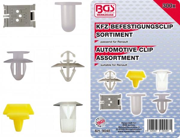 BGS 9048 KFZ-Befestigungsclip-Sortiment für Renault, 300-tlg.