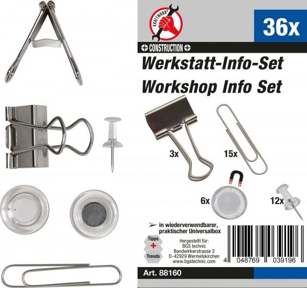 BGS 88160 Werkstatt-Info-Satz (Büroklammern, Magnete, Nadeln), 36-tlg.