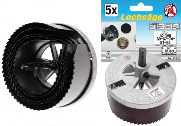 BGS 50305 Lochsägen-Set, 60-95 mm, 5 Größen