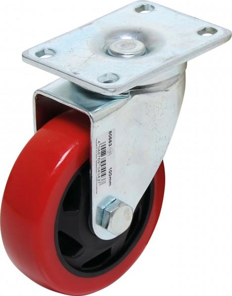 BGS 80663 Lenkrolle, rot/schwarz, 100 mm