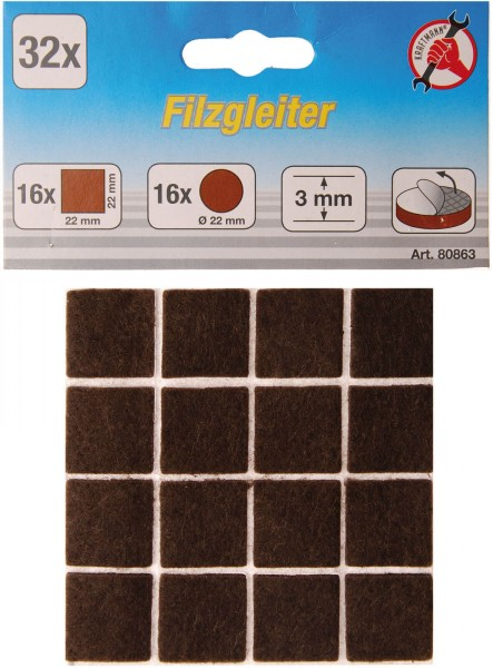 BGS 80863 Filzgleiter, braun, 32-tlg.