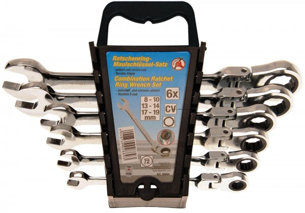 BGS 30004 Maul-Ratschenring-Schlüssel-Satz, 6-tlg. 8-19 mm, flexible Köpfe,