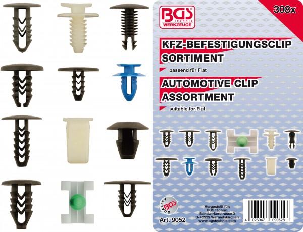 BGS 9052 KFZ-Befestigungsclip-Sortiment für Fiat, 308-tlg.