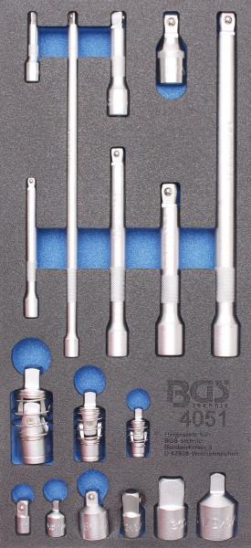 BGS 4051 1/3 Werkstattwageneinlage: Verlängerungs-, Adapter- & Gelenk-Satz