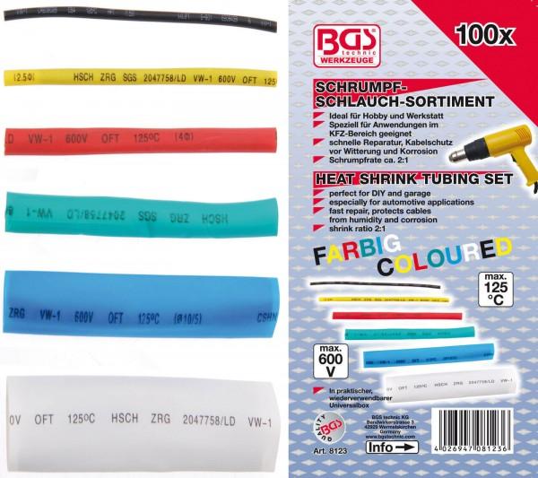 BGS 8123 Schrumpf-Schlauch-Sortiment, farbig, 100-tlg.
