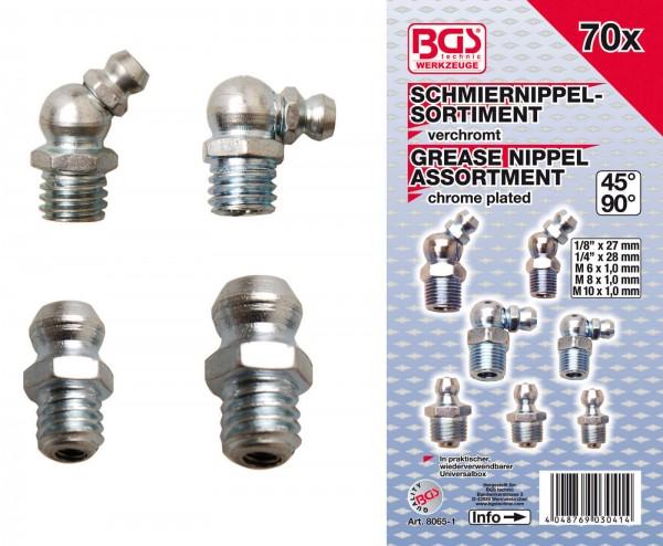BGS 8065-1 Schmiernippel-Sortiment Metrisch und Zoll, 70-tlg