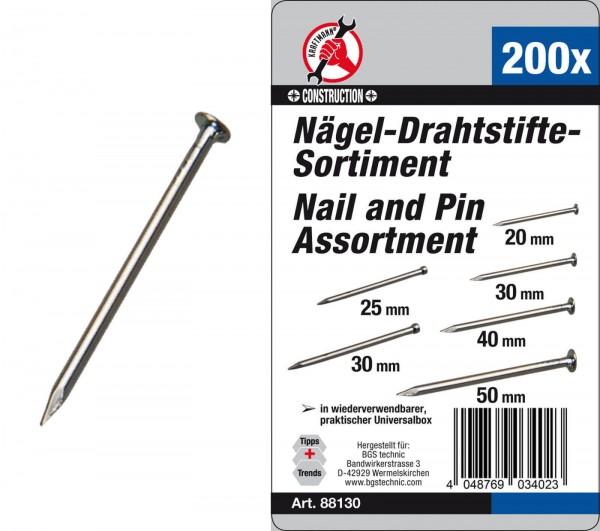BGS 88130 Nägel-Drahtstifte-Sortiment 200-tlg.
