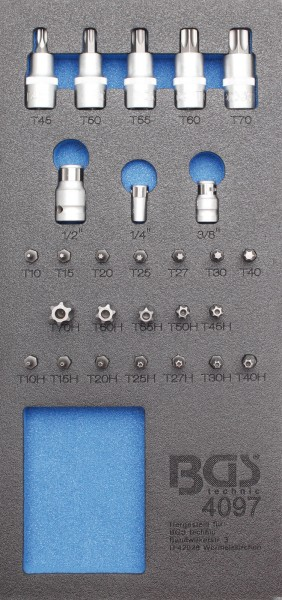 BGS 4097 1/3 Werkstattwageneinlage: Bit- und Biteinsatz-Sortiment, 27-tlg.