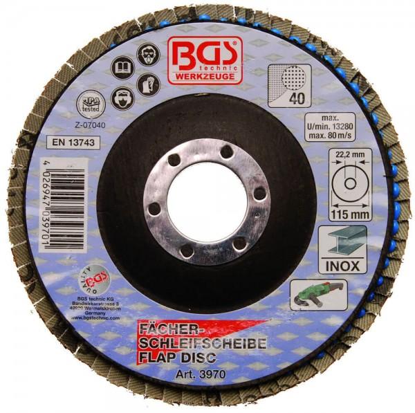 BGS 3970 Fächer-Schleifscheibe 115 mm Fächerscheibe für Winkelschleifer K40