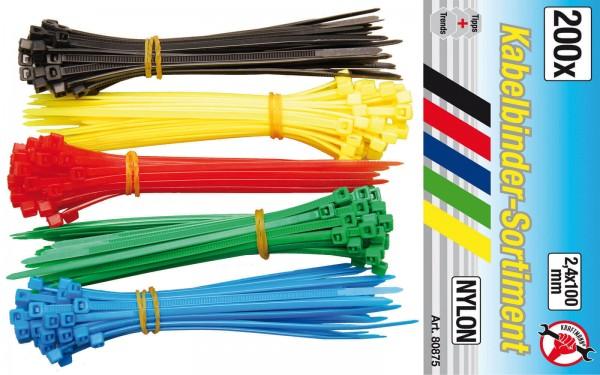 BGS 80875 Kabelbinder-Sortiment, 2,4 x 100 mm, 5 Farben, 200-tlg.