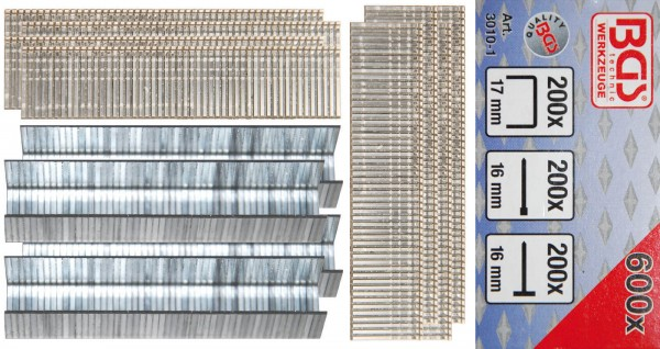 BGS 3010-1 Klammer-, Bolzen, Nagel-Sortiment, 600-tlg.
