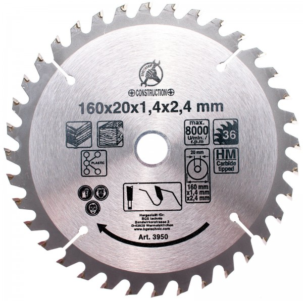 BGS 3950 Hartmetall-Kreissägeblatt, Ø 160 mm